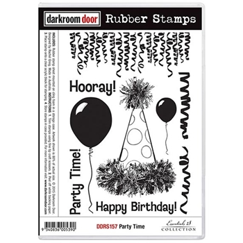 Darkroom Door Cling Stamp PARTY TIME Rubber UM DDRS157