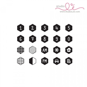 Studio L2E HEXAGON NUMBERS Clear Stamp Set