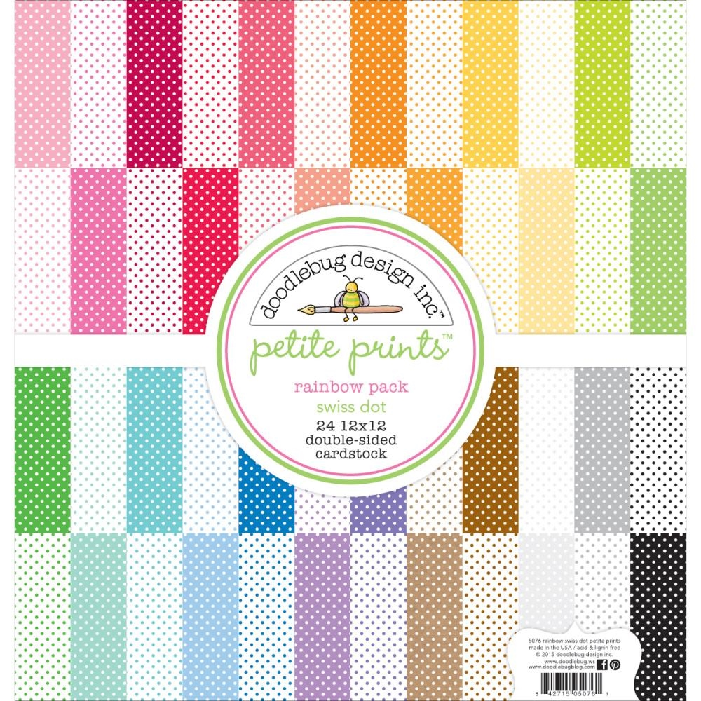 Doodlebug RAINBOW PACK 12x12 Inch Swiss Dot Petite Prints 5076 zoom image