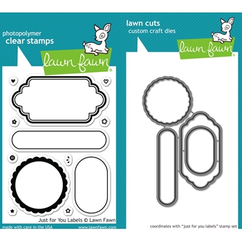 RESERVE Lawn Fawn SET LF16SETJFYL JUST FOR YOU LABELS Clear Stamps and Dies