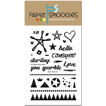 Paper Smooches SILVER AND GOLD Clear Stamps J1S263