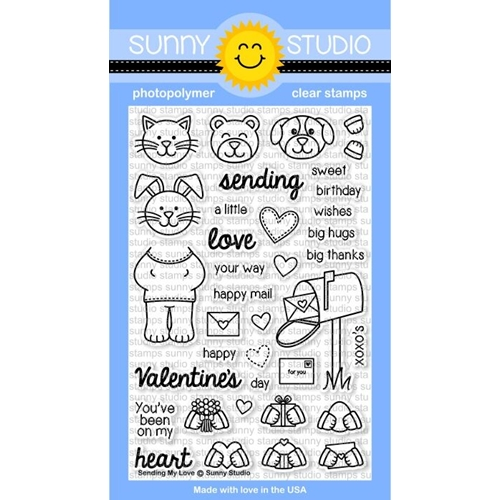Sunny Studio SENDING MY LOVE Clear Stamp Set SSCL-122* Preview Image
