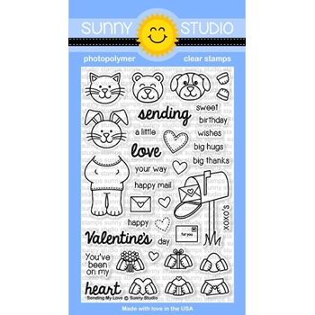 Sunny Studio SENDING MY LOVE Clear Stamp Set SSCL-122*