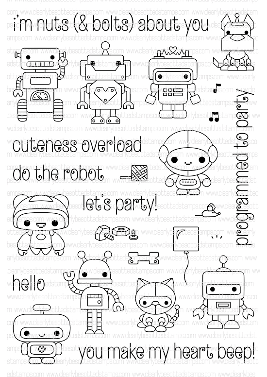 Clearly Besotted MINI BOTS Clear Stamp Set  zoom image