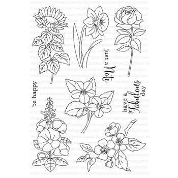 Clearly Besotted MINIATURE FLORALS II Clear Stamp Set