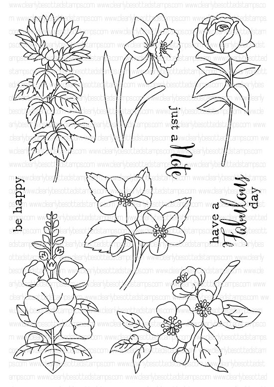 Clearly Besotted MINIATURE FLORALS II Clear Stamp Set  zoom image