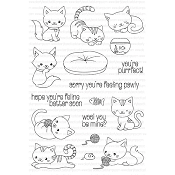 Clearly Besotted YOU'RE PURRFECT Clear Stamp Set
