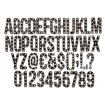 Tim Holtz Sizzix ALPHANUMERIC MARQUEE Thinlits Die 661177 Preview Image