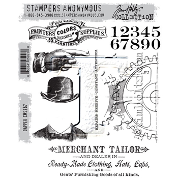RESERVE Tim Holtz Cling Rubber Stamps 2016 DAPPER CMS267