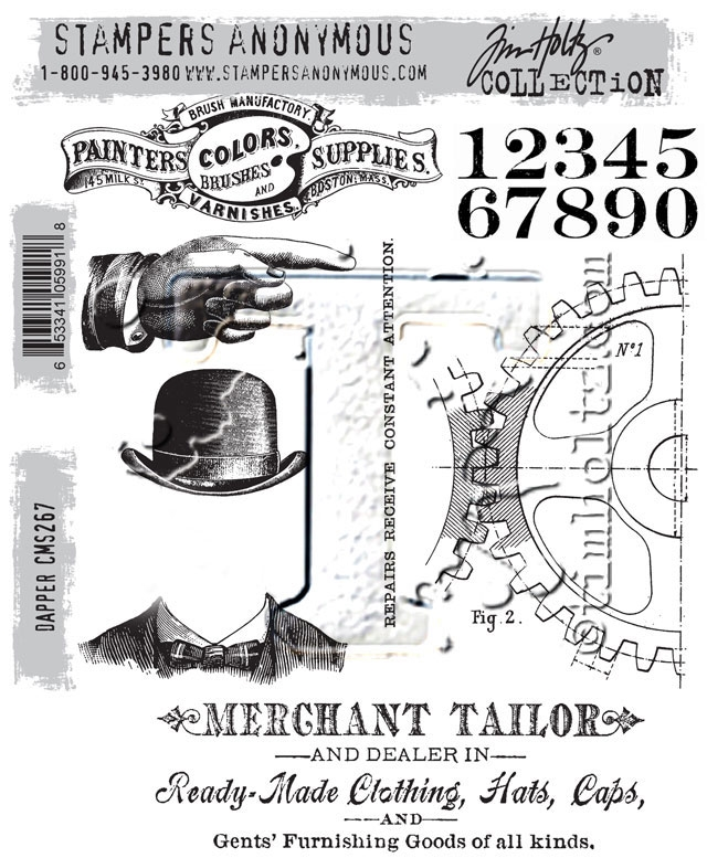 Tim Holtz Cling Rubber Stamps DAPPER CMS267  zoom image