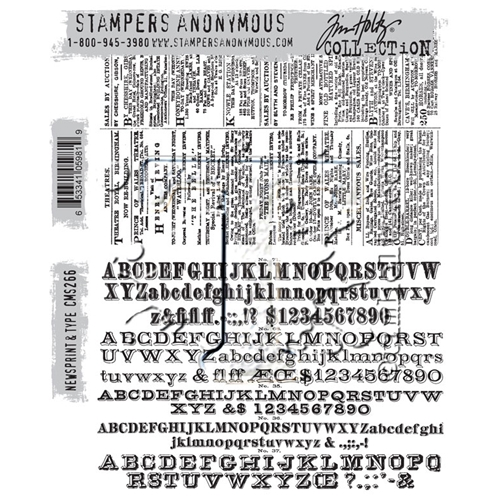 Tim Holtz Cling Rubber Stamps 2016 NEWSPRINT AND TYPE CMS266 Preview Image