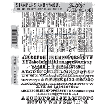 RESERVE Tim Holtz Cling Rubber Stamps 2016 NEWSPRINT AND TYPE CMS266