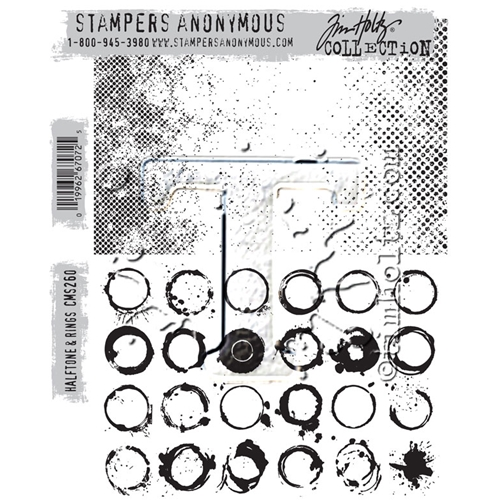 Tim Holtz Cling Rubber Stamps HALFTONE AND RINGS CMS260  Preview Image