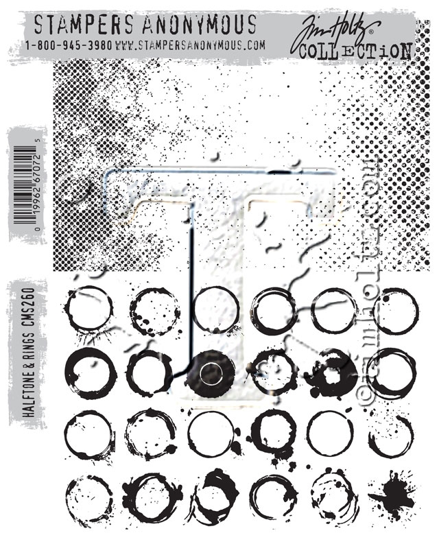 Tim Holtz Cling Rubber Stamps HALFTONE AND RINGS CMS260  zoom image