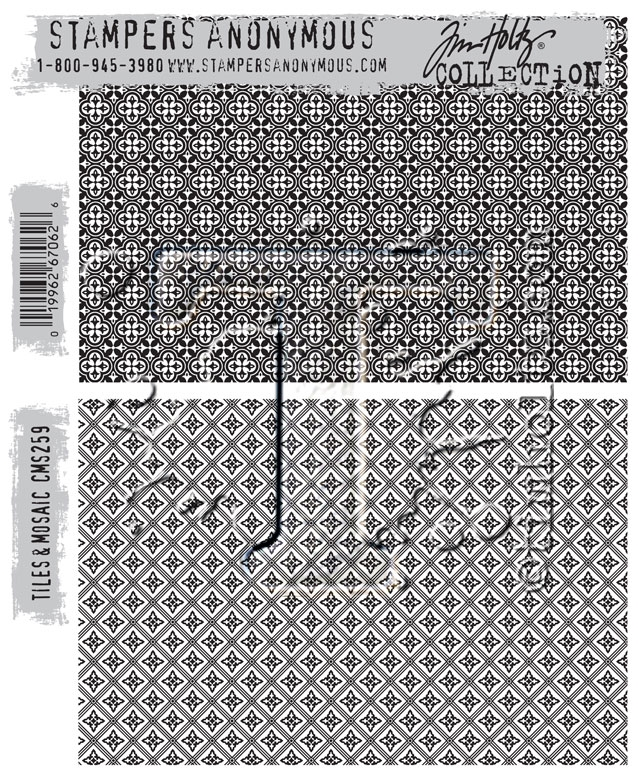 Tim Holtz Cling Rubber Stamps TILES AND MOSAIC CMS259 zoom image