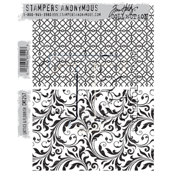 RESERVE Tim Holtz Cling Rubber Stamps 2016 LATTICE AND FLOURISH CMS257