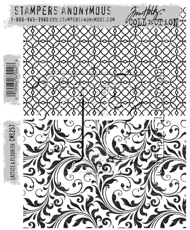 Tim Holtz Cling Rubber Stamps 2016 LATTICE AND FLOURISH CMS257 zoom image