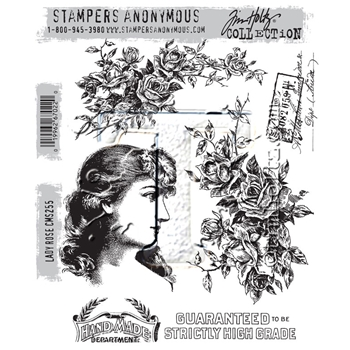 Tim Holtz Cling Rubber Stamps 2016 LADY ROSE CMS255