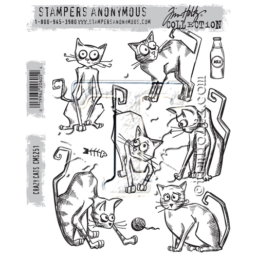 Tim Holtz Cling Rubber Stamps CRAZY CATS CMS251 Preview Image