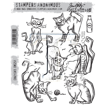 Tim Holtz Cling Rubber Stamps CRAZY CATS CMS251
