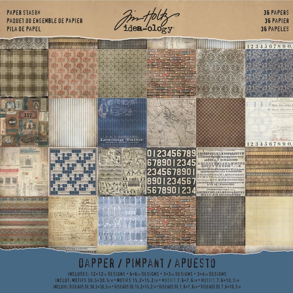 Tim Holtz Idea-ology 12 x 12 Paper Stash DAPPER TH93260 zoom image