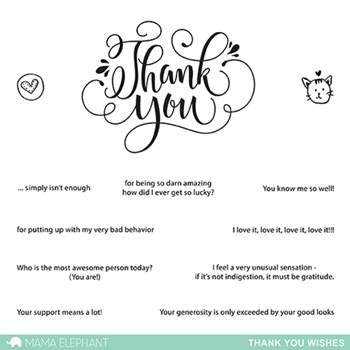 Mama Elephant Clear Stamp THANK YOU WISHES Set
