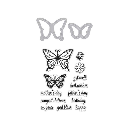 Hero Arts Stamp & Cuts BUTTERFLY PAIR Coordinating Stamp And Die Set DC182 Preview Image