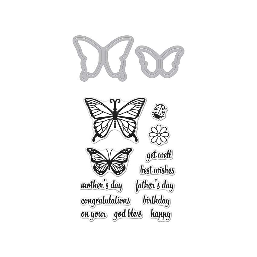 Hero Arts Stamp & Cuts BUTTERFLY PAIR Coordinating Stamp And Die Set DC182 zoom image