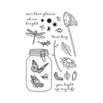 Hero Arts Clear Stamps MASON JAR BUGS CL953