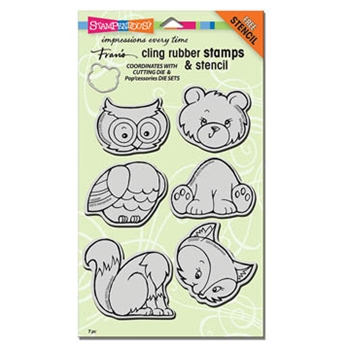 Stampendous Cling Stamps WOODLAND FRIENDS With Stencil UM Rubber CRS5087