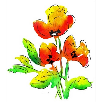 Rubbernecker WATERCOLOR POPPIES Layering Cling Stamps 719