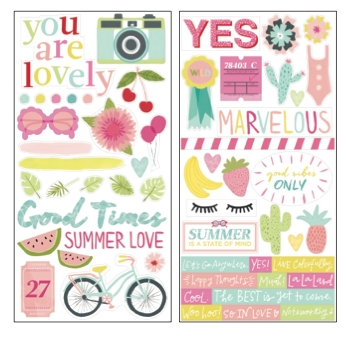 American Crafts Dear Lizzy HAPPY PLACE STICKERS 6x12 Inch Sheet 373668