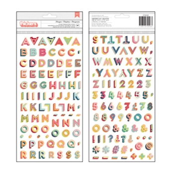 American Crafts Shimelle MARQUEE MULTI Printed Chipboard Letter Stickers Starshine 374048