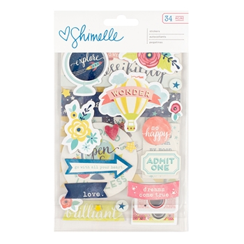 American Crafts Shimelle CHIPBOARD STICKERS Starshine 374052