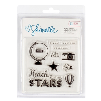 American Crafts Shimelle STARSHINE ACRYLIC Stamp Set 374058