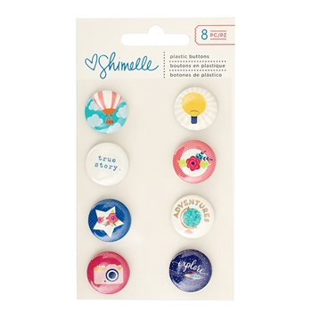 American Crafts Shimelle FLAIR PLASTIC BUTTONS Starshine 374059