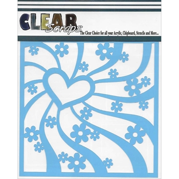 Clear Scraps GROOVY HEART 6 x 6 Stencil 013570*