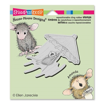 Stampendous Cling Stamp UMBRELLA RIDE Rubber UM HMCV30 House Mouse