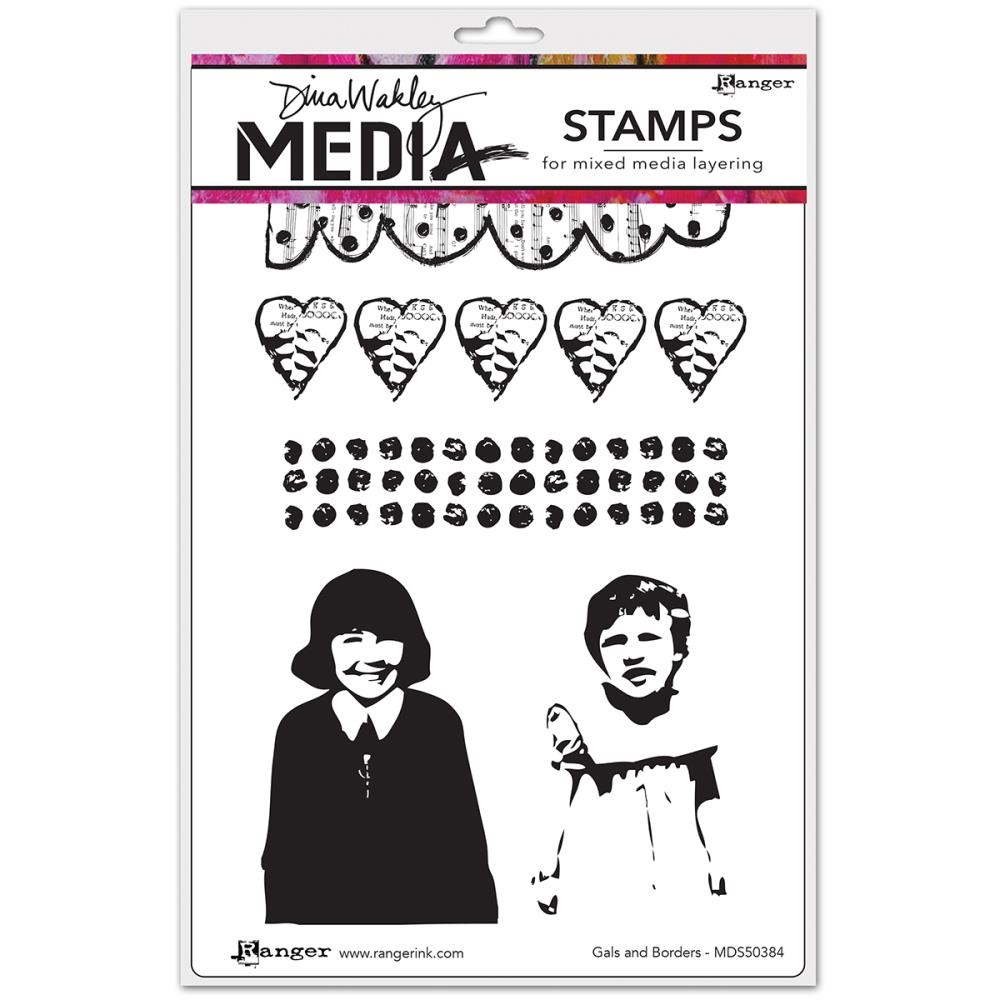 Dina Wakley GALS AND BORDERS Media Cling Rubber Stamp MDR50384* zoom image