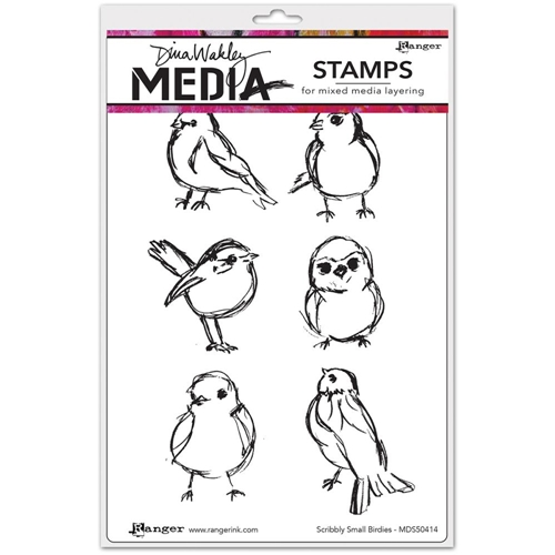 Dina Wakley SCRIBBLY SMALL BIRDIES Media Cling Rubber Stamp MDR50414 Preview Image