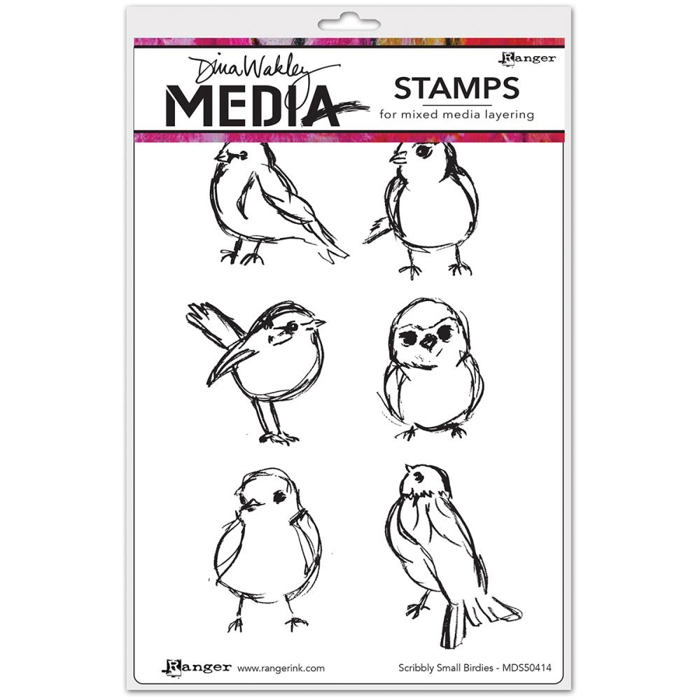 Dina Wakley SCRIBBLY SMALL BIRDIES Media Cling Rubber Stamp MDR50414 zoom image