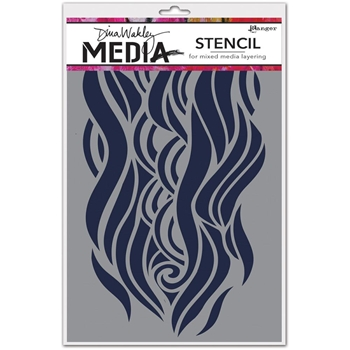 Dina Wakley MIGHTY WAVE Media Stencil MDS49906