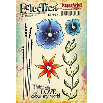 Paper Artsy ECLECTICA3 DARCY 18 Rubber Cling Stamp EDY18