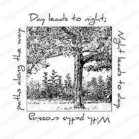 Impression Obsession Cling Stamp TREE SQUARED F7815