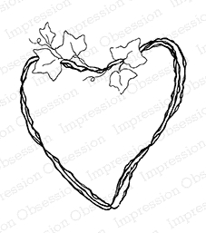 Impression Obsession Cling Stamp IVY HEART E9871