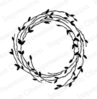 Impression Obsession Cling Stamp LEAFY WREATH D9977