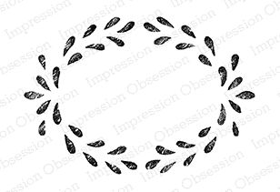 Impression Obsession Cling Stamp CHALK WREATH F9962