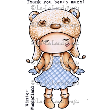 La-La Land Crafts Cling Stamp PAPER DOLL MARCI - BEAR HAT Set 5271