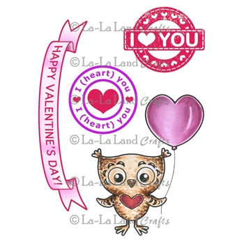 La-La Land Crafts Cling Stamp OWL LOVE YOU Set 5277
