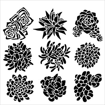 The Crafter's Workshop MINI PRETTY SUCCULENTS 6x6 Template TCW613S